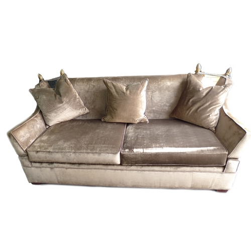 273 - A modern large Knowle style settee, three / four seater, recently re-upholstered in mink coloured ve...