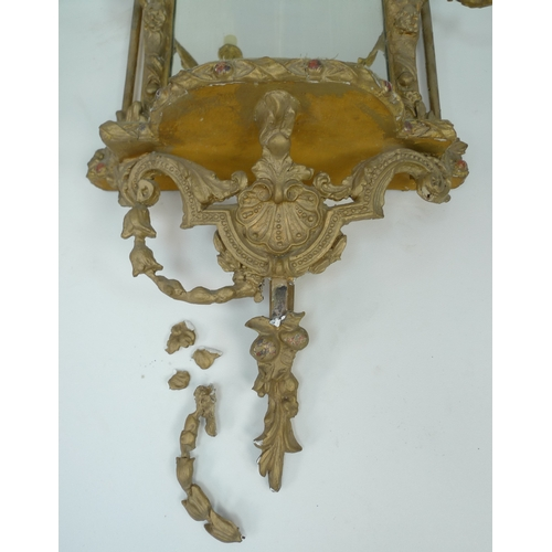 285 - A pair of 19th century and later gilt framed girandole mirrors, with moulded fruit and leaf frames a...
