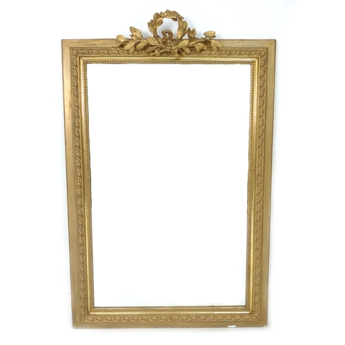 260 - A Victorian gilt overmantle mirror with rectangular plate, 83.5 by 13 by 130cm high....