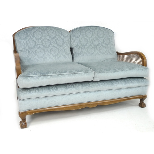 230 - A 19th/early 20th century Bergere sofa and pair of armchairs, all with blue upholstered seats, chair...