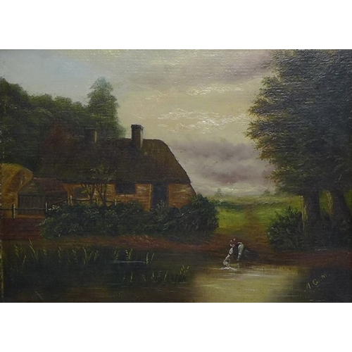 178 - A pair of late Victorian oil on panel paintings, naively painted landscape scenes, one of a pond wit...