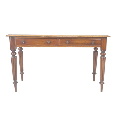 240 - A Victorian mahogany side table, two frieze drawers with turned handles, reeded and turned tapering ...