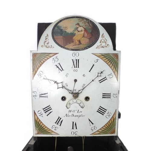 299 - A 19th century oak longcase clock, William Lee, Northampton, painted white dial, twin train striking...