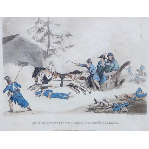 160 - Thomas Sutherland (1785-1838): a 19th century aquatint after W Heath, entitled Bonaparte's Flight in...