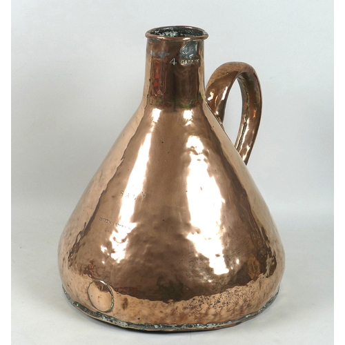 61 - An early 19th century copper four gallon / one bushel measure, flask or pitcher, makers Smith & Webb...