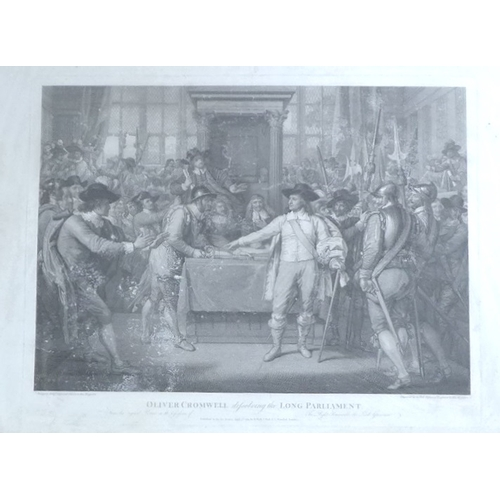 159A - After Benjamin West RA: a pair of 18th century engravings, 'Oliver Cromwell dissolving the Long Parl...