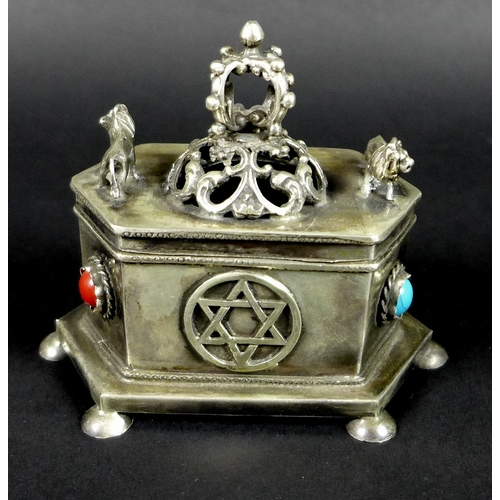 33 - Judaica: a Russian silver hexagonal box, pierced lid with crown flanked by two prowling lions, the s...