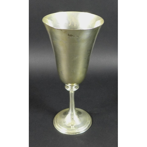 1 - A George V silver goblet, of plain form with knopped stem and circular foot, James Dixon & Sons, She...
