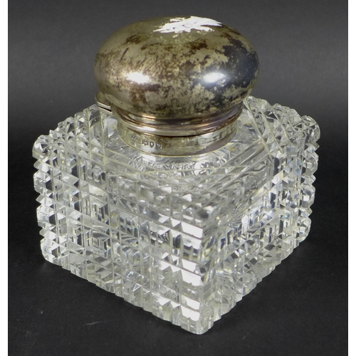 10 - A Victorian silver topped cut glass perfume bottle, by Army & Navy Cooperative Society Ltd, London 1...