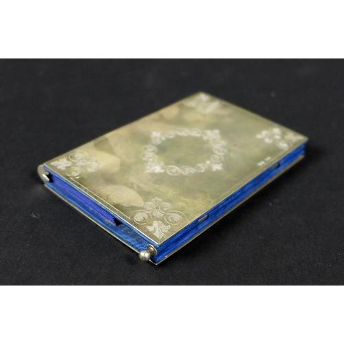 20 - A Victorian silver card case by Sampson Mordan, London 1875, with engraved fleur de lys decoration t...