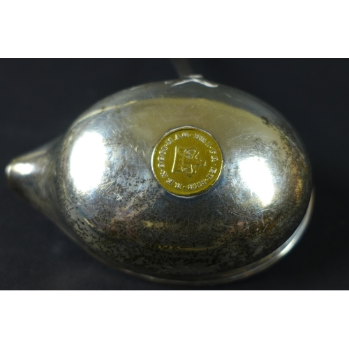 25 - A silver punch or toddy ladle inset with an 1800 George III coin, possibly a third Guinea, fitted to...