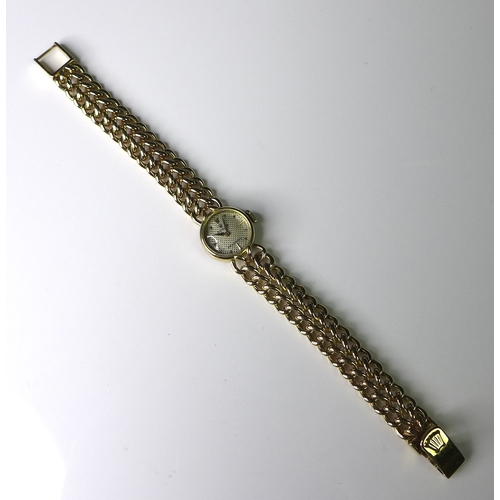 286 - An 18ct gold Rolex Precision lady's bracelet wristwatch, circa 1980s, circular patterned champagne d...