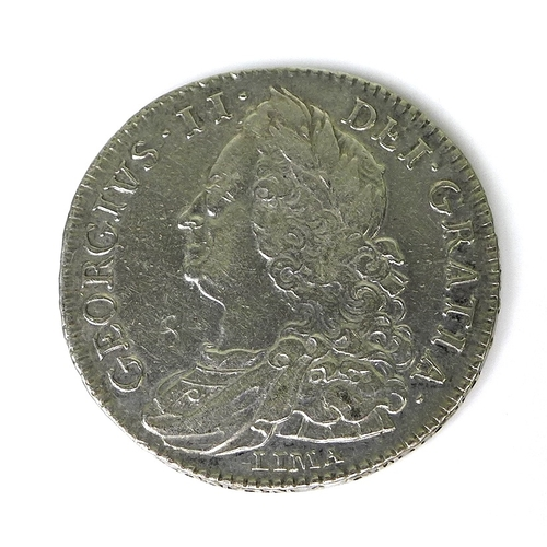 48 - A George II silver Lima half crown, dated 1746, the reverse later engraved WH 1758....