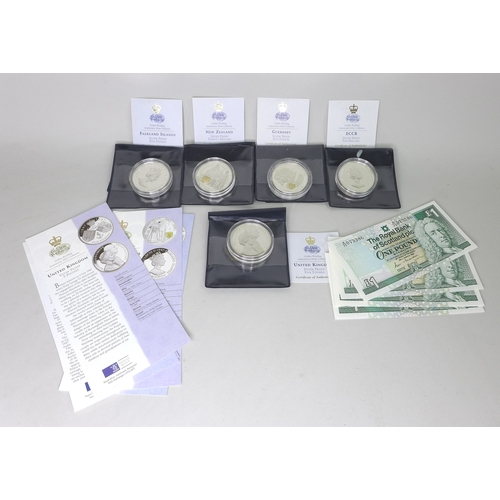 43 - A group of five silver proof coins, with certificates, together with a group of five Royal Bank of S...