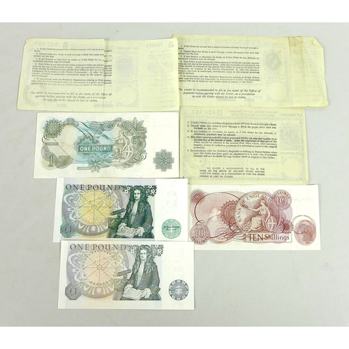 44 - A collection of bank notes and three postal orders, comprising three £1 note, serials CY76279115, DU...