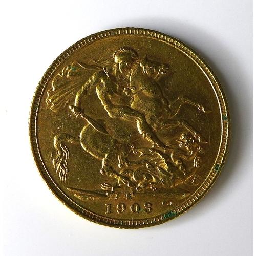 56 - An Edward VII gold sovereign, 1903, Sydney, Australia, mint....