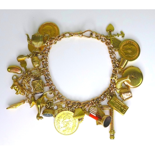 279 - A 9ct gold curb link charm bracelet, each link and clasp marked, with an assortment of charms includ...