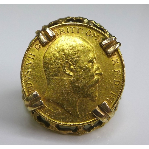 54 - An Edward VII gold half sovereign, 1906, in a 9ct gold ring setting, size N, 10.5g total....