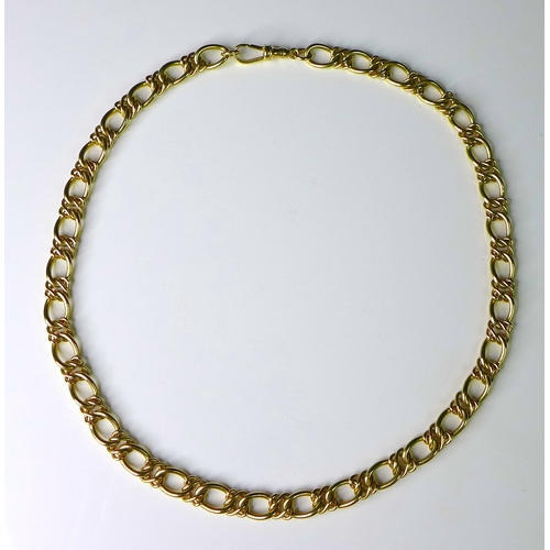 281 - A 9ct gold necklace, solid Durham link, marked to both clasp and links, 41.6g, 44cm, with original r...