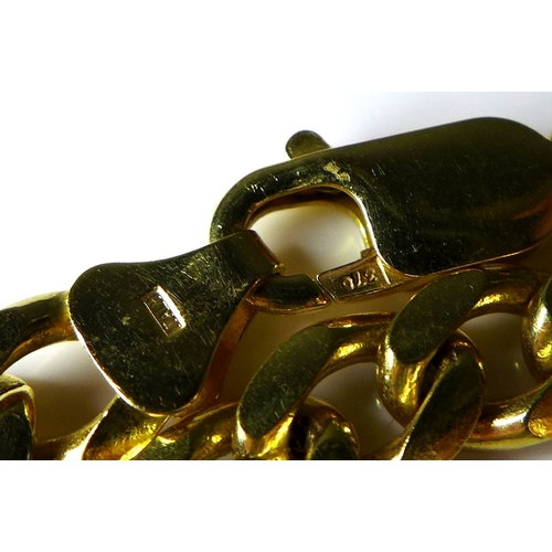 282 - An Italian 9k gold kerb link necklace, 55cm, 44.1g....