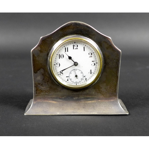 3 - A Mappin and Webb silver cased miniature mantle clock, with Arabic dial and Swiss movement, 6.5 by 2...