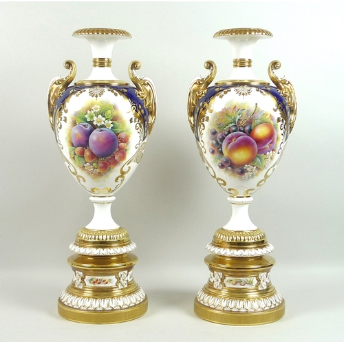 56 - A pair of large modern Royal Worcester pedestal vases, foliate clasped twin handles, decorated in a ...