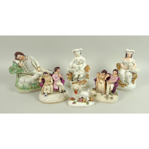 3 - A group of six Victorian Staffordshire figurines, comprising a sleeping shepherd, 15cm high, a pair ...