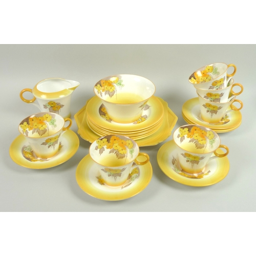 22 - A group of Shelley Phlox pattern tea wares, comprising six cups, six saucers, six tea plates, one se...