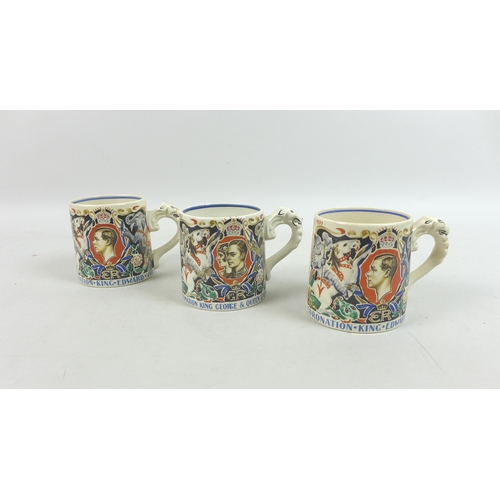 19 - A group of three Burleigh Ware Royal commemorative mugs, designed by Dame Laura Knight, two for the ...