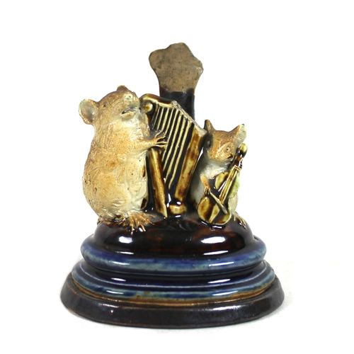 1 - George Tinworth (British, 1843-1913) for Doulton, Lambeth, a stoneware Mouse Musician menu holder, d...