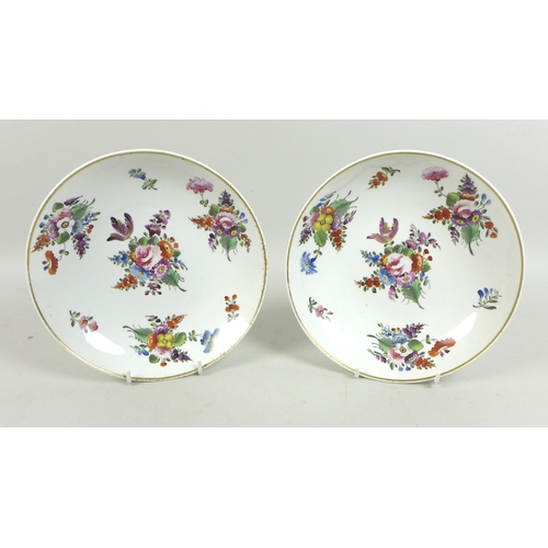 20 - A pair of Derby porcelain dishes, circa 1820, decorated with sprays of flowers, gilt rims, red paint...