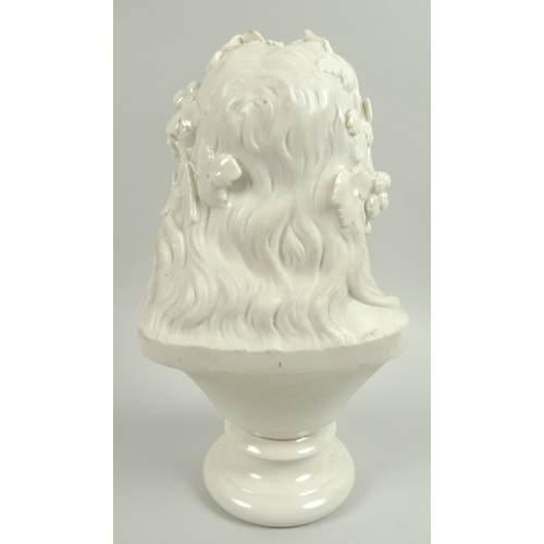 42 - A late Victorian Belleek bust, modelled as 'Queen of the Hops', with foliate hair decorations, raise...