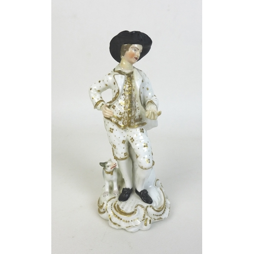 17 - An early 19th century porcelain figure, possibly Derby, modelled as a gentleman standing with his le...