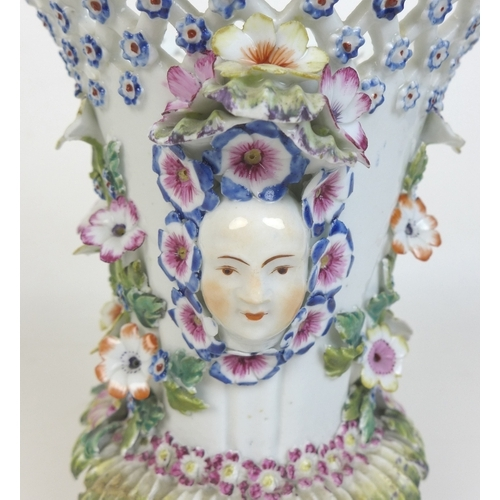 49 - A Bow soft paste porcelain frill vase, circa 1760, of flared cylindrical form with incised body, pie...