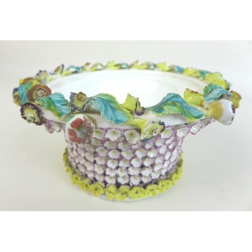 47 - A 19th century porcelain bowl and cover, in the Meissen schneeballen style, encrusted all over with ...