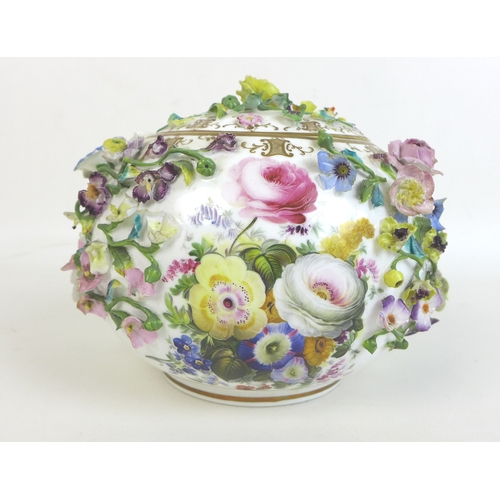 45 - A 19th century Minton porcelain encrusted polychrome vase and cover, circa 1830, decorated all over ...