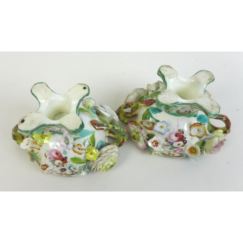 46 - A pair of 19th century porcelain encrusted polychrome twin handled bowls and covers, circa 1835, pro...