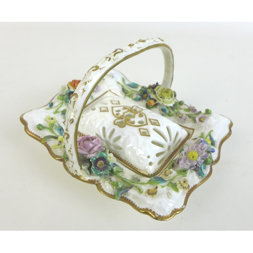 33 - A 19th century porcelain encrusted polychrome potpourri basket, possibly Minton, of rectangular form...