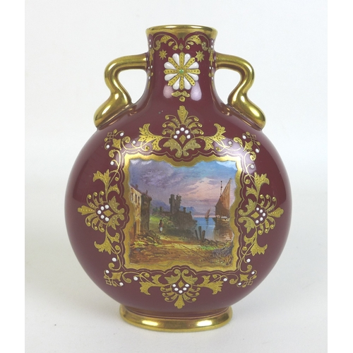 34 - A pair of Edwardian Coalport moon flasks, with twin gilt handles, each decorated with a square reser...