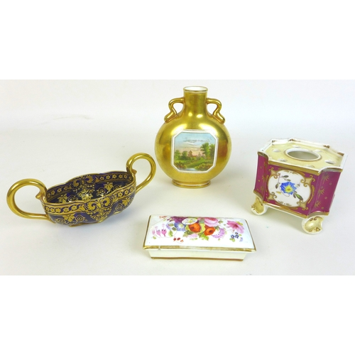 29 - A group of four porcelain items, comprising an Edwardian Coalport moon flask vase, decorated with a ...