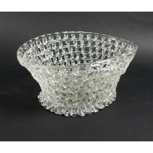 13 - A late 18th century Liege a Traforato glass basket, of oval trumpet form, with openwork trellis trai...