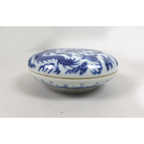 67 - A group of South East Asian blue and white porcelain, including a Chinese lidded dragon pot and cove...