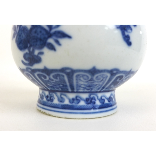 83 - A Chinese porcelain Ming style garlic mouth vase, decorated in heaped and piled style underglaze blu...