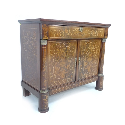 387 - A Dutch 19th century chiffonier, with profuse marquetry inlaid over an oak body, single frieze drawe...
