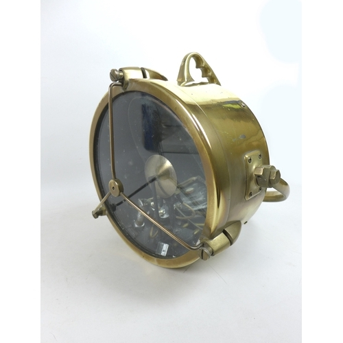 304 - A Francis Searchlights Ltd. type F11 copper and brass boat search light, early to mid 20th century, ...