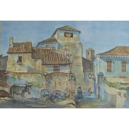 244 - George Owen Wynne Apperley (1884-1960): A Continental village scene, street with figures and a donke...