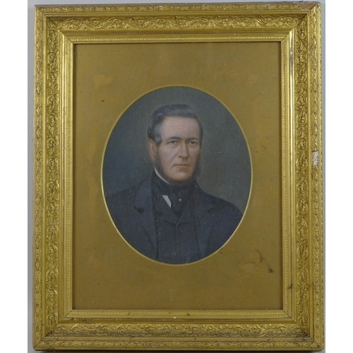 275 - British School (19th century): portrait of a gentleman, in Edwardian suit with cravat, oval format, ...