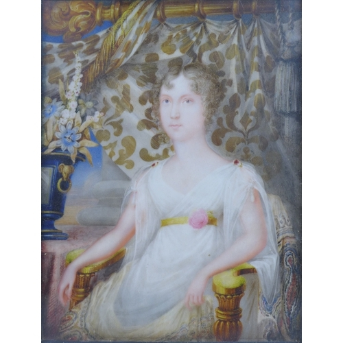 280 - A 19th century portrait of a  seated lady within a continental and decorative interior, oil on ivory...