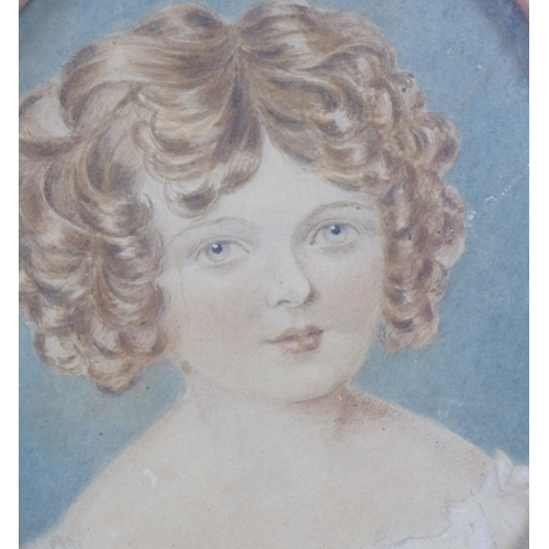 249 - Two 19th century watercolour portraits of young girls, comprising a profile study of girl with blond...