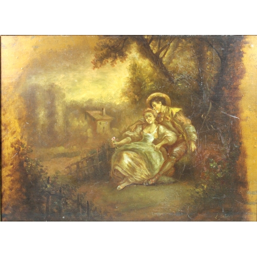 274 - A 18th century style romantic pastoral scene, with two lovers beneath a tree, indistinctly signed, o...